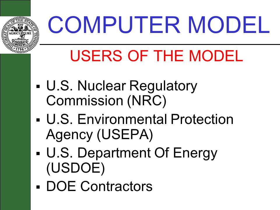 COMPUTER MODEL USERS OF THE MODEL