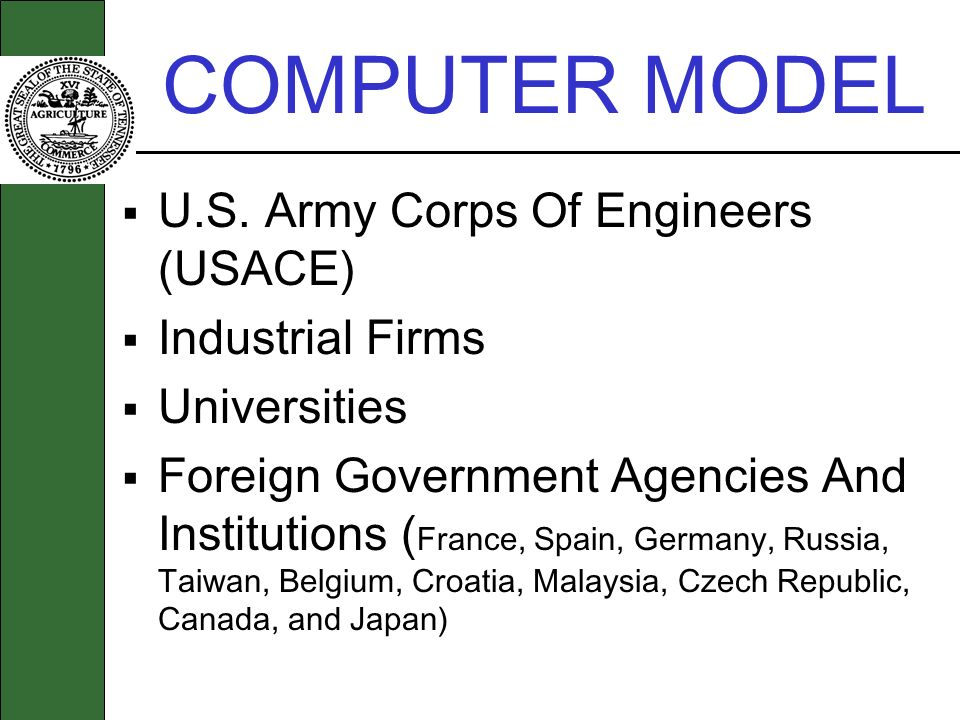 COMPUTER MODEL U.S. Army Corps Of Engineers (USACE) Industrial Firms