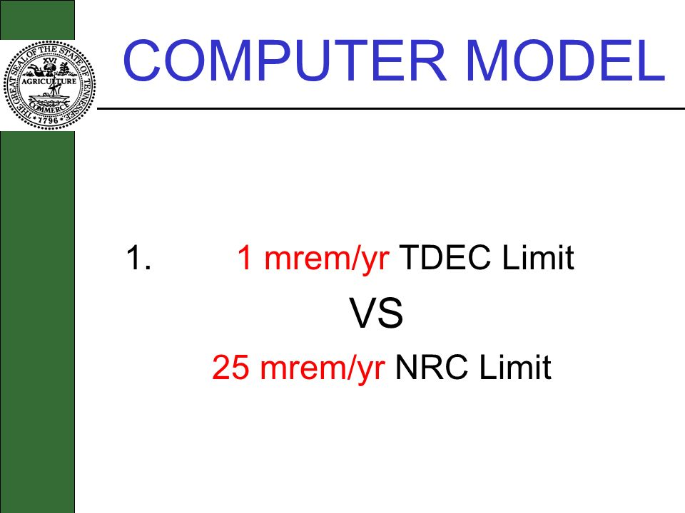 COMPUTER MODEL 1. 1 mrem/yr TDEC Limit VS 25 mrem/yr NRC Limit