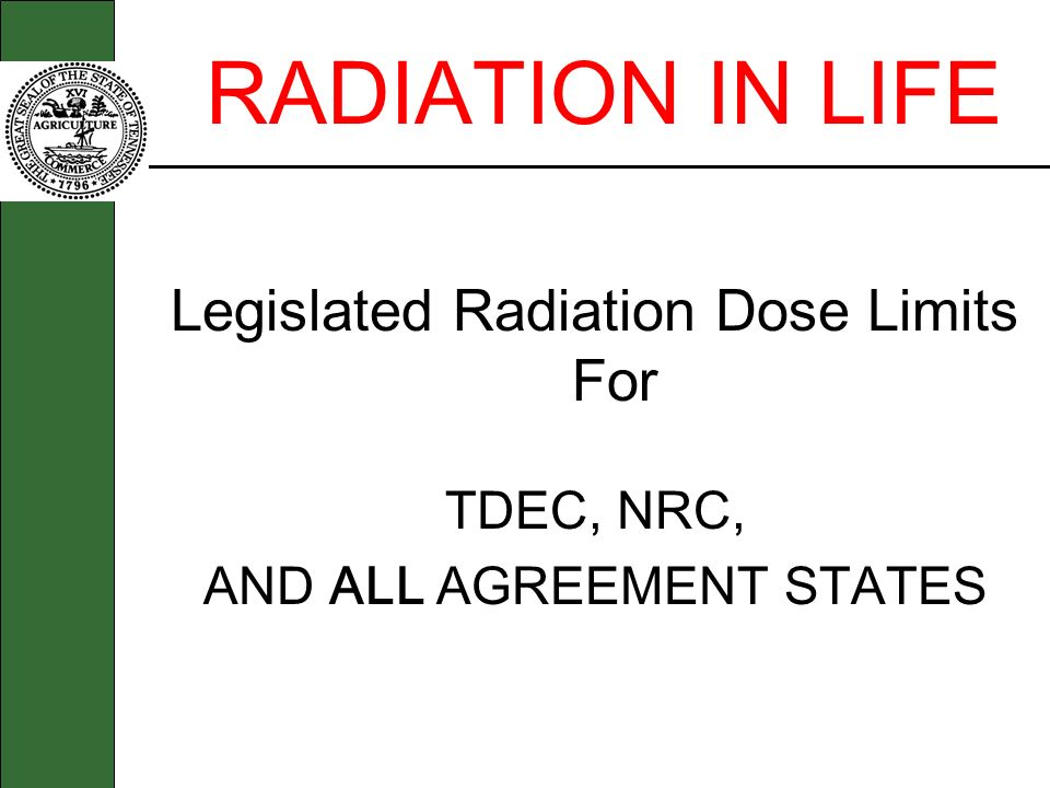 RADIATION IN LIFE Legislated Radiation Dose Limits For TDEC, NRC,