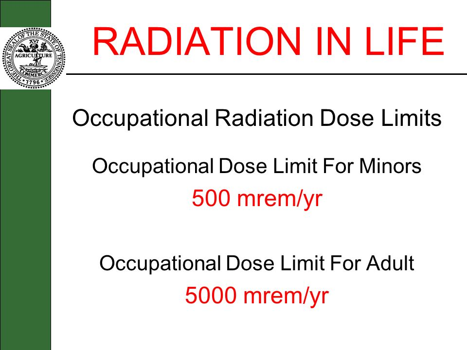 RADIATION IN LIFE Occupational Radiation Dose Limits 500 mrem/yr