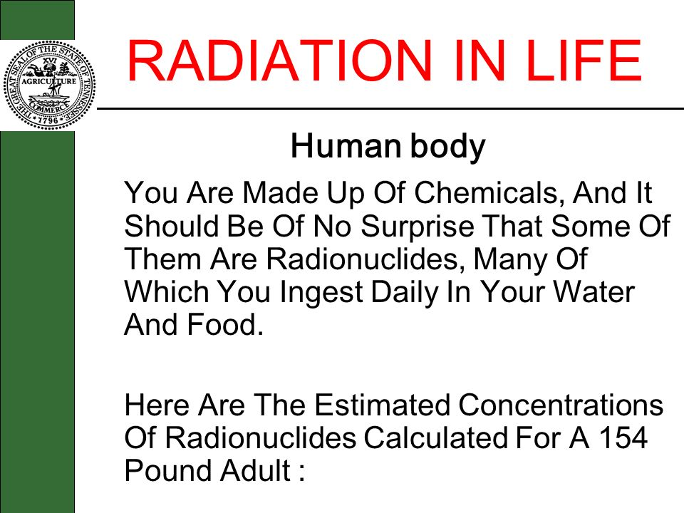 RADIATION IN LIFE Human body