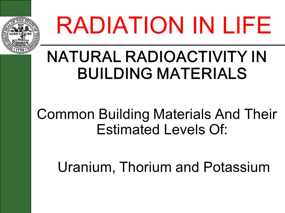 NATURAL RADIOACTIVITY IN BUILDING MATERIALS