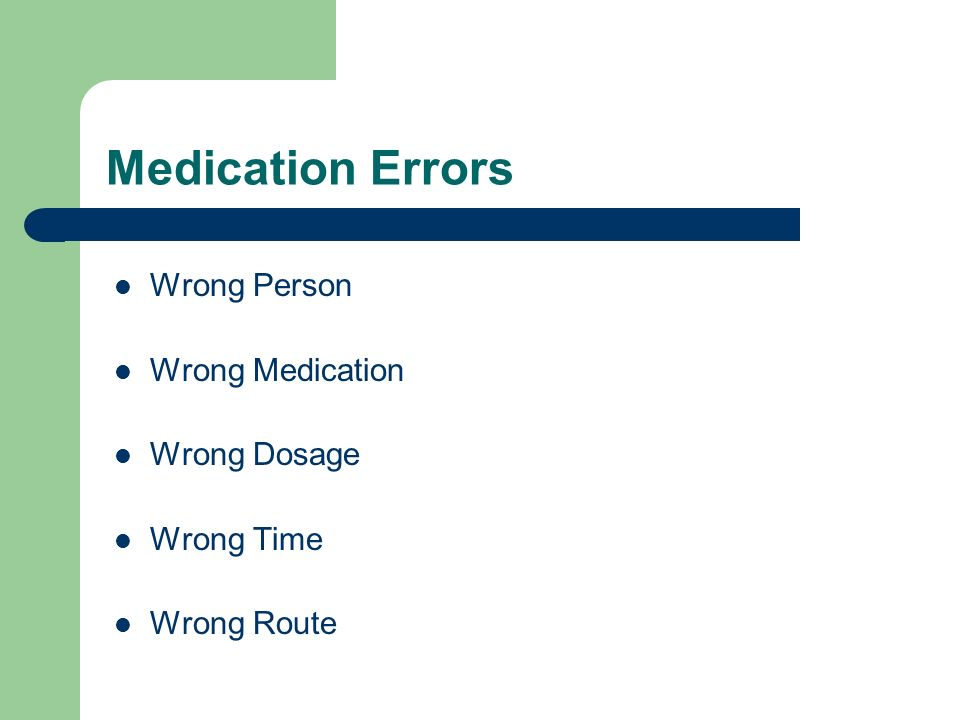 Medication Errors Wrong Person Wrong Medication Wrong Dosage