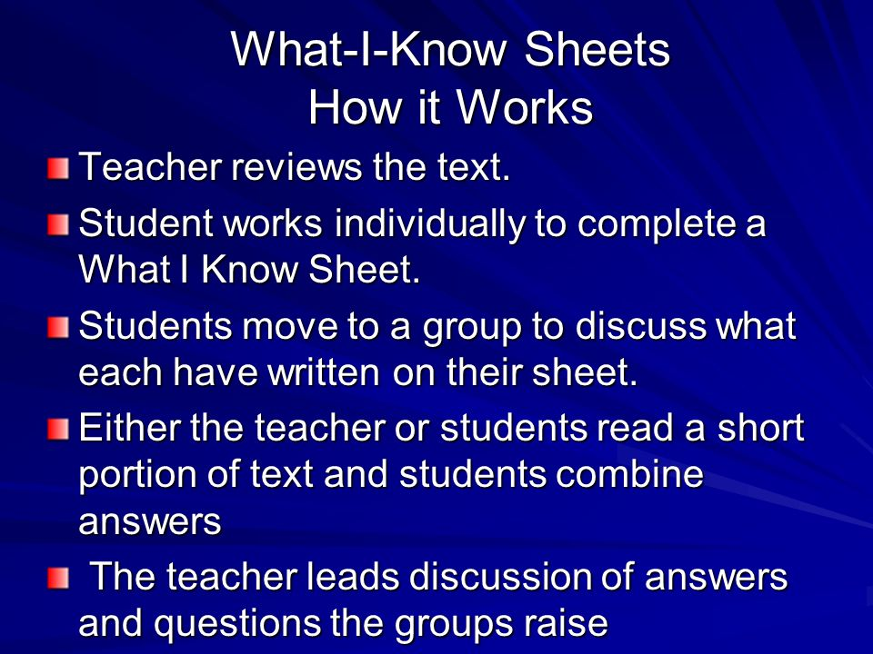 What-I-Know Sheets How it Works