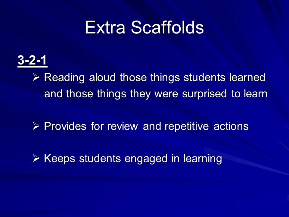 Extra Scaffolds 3-2-1 Reading aloud those things students learned