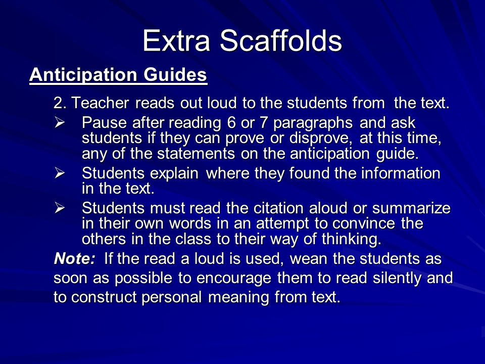 Extra Scaffolds Anticipation Guides