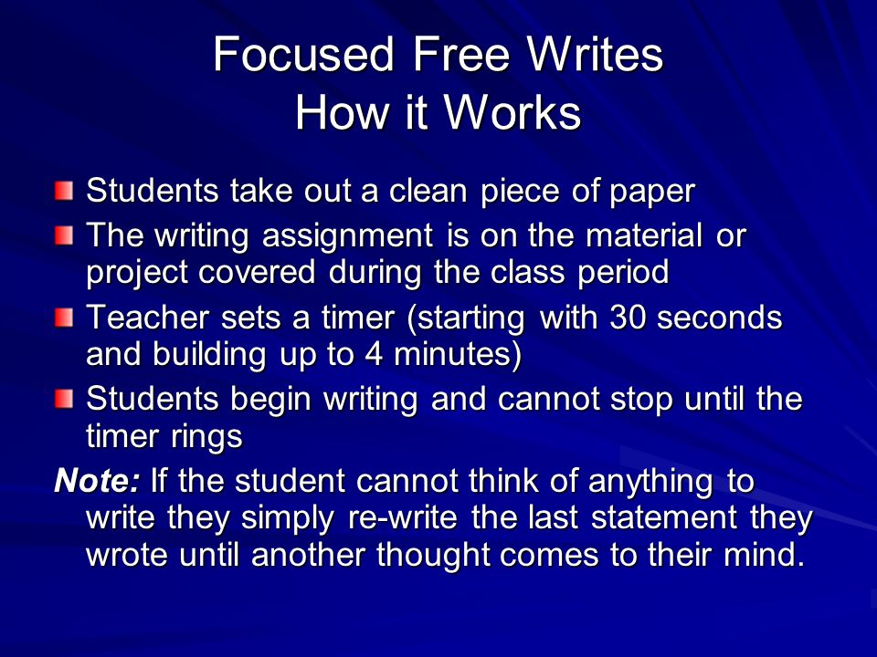 Focused Free Writes How it Works