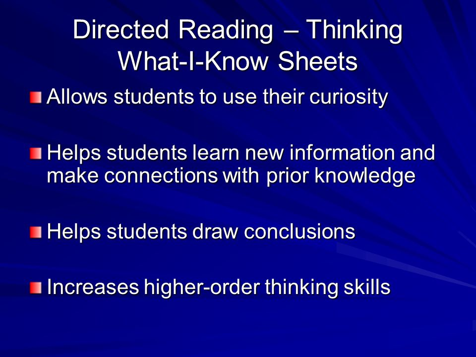 Directed Reading – Thinking What-I-Know Sheets