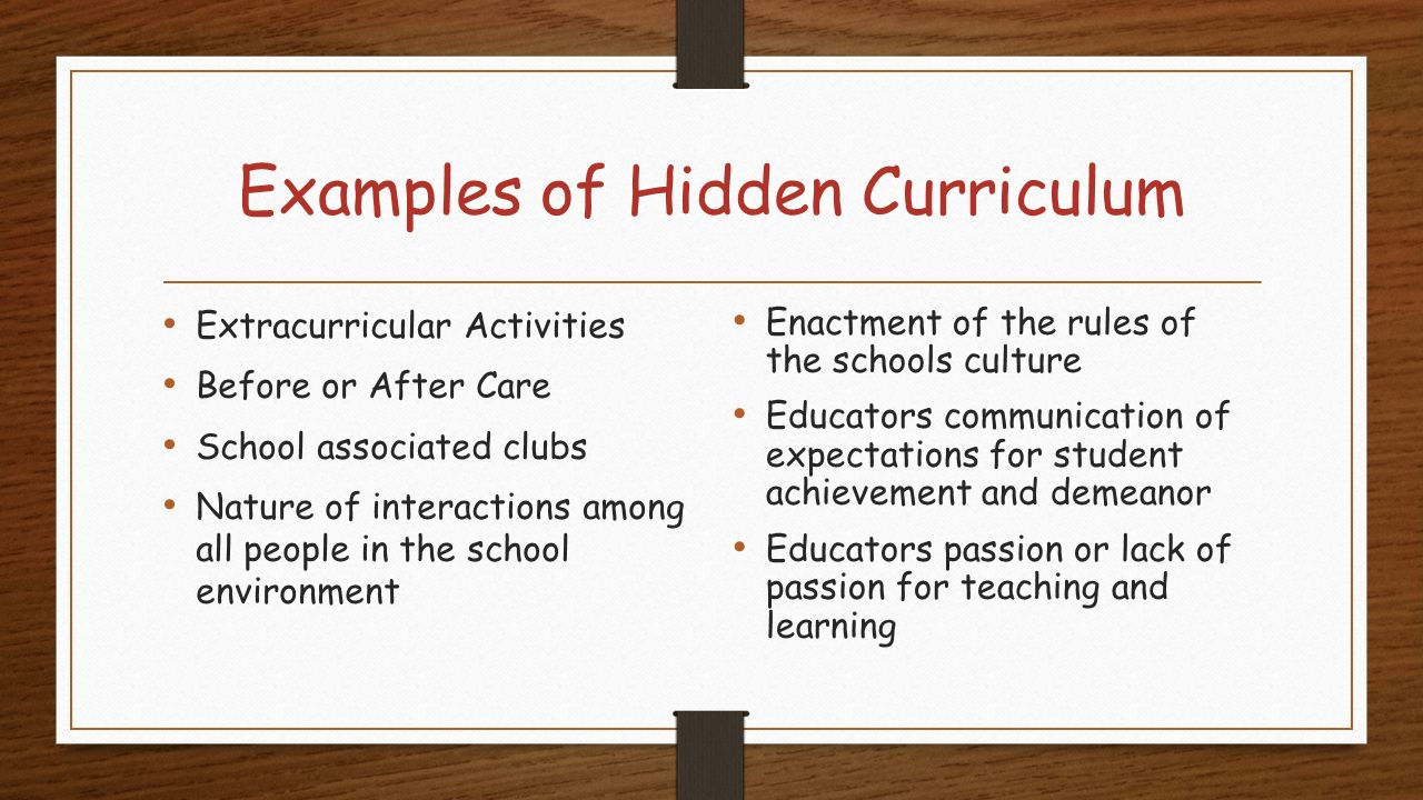 hidden curriculum Start studying the hidden curriculum learn vocabulary, terms, and more with flashcards, games, and other study tools.