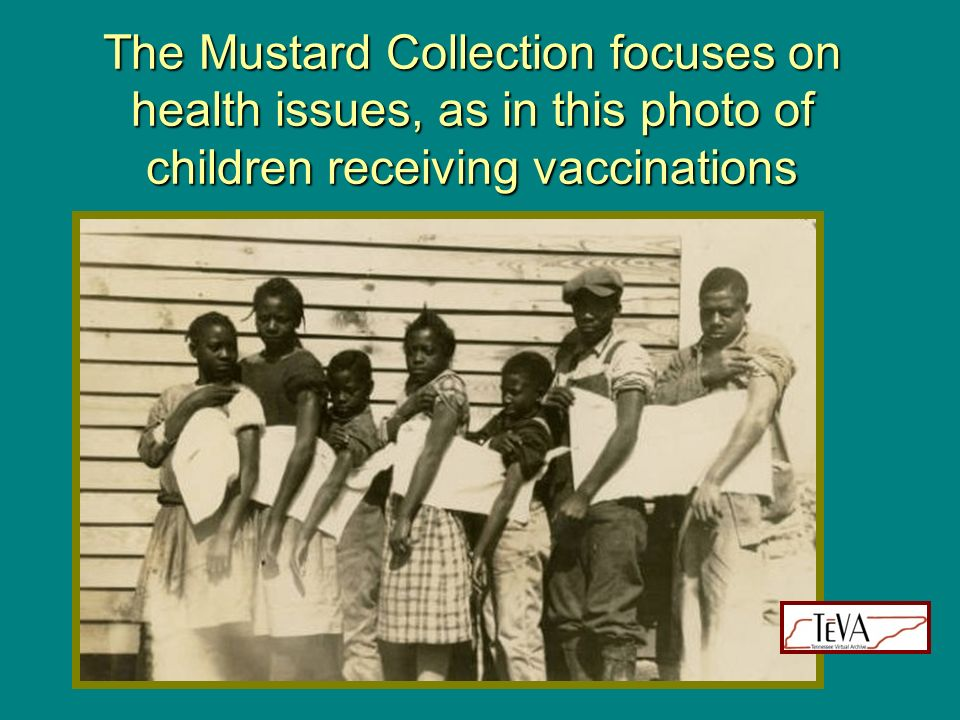 The Mustard Collection focuses on health issues, as in this photo of children receiving vaccinations