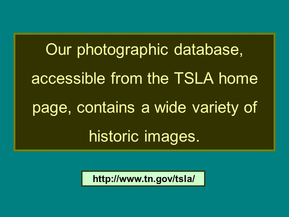 Our photographic database, accessible from the TSLA home page, contains a wide variety of historic images.
