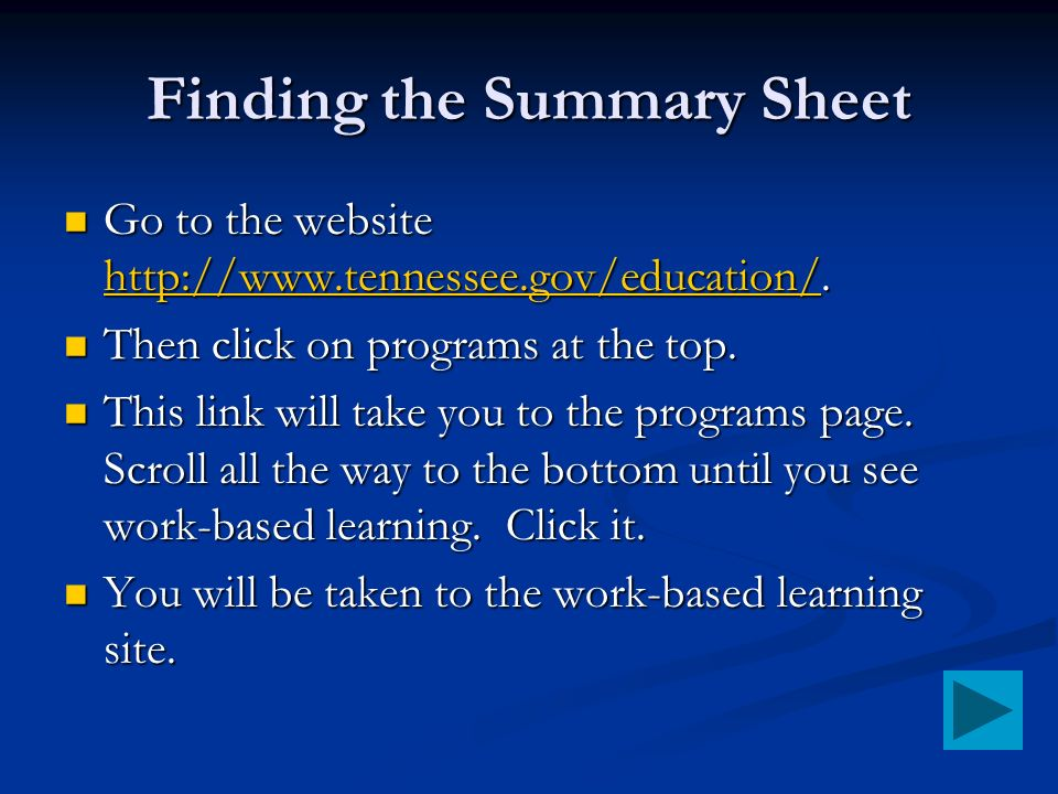 Finding the Summary Sheet