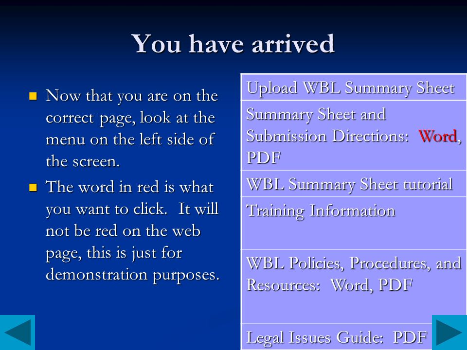 You have arrived Upload WBL Summary Sheet