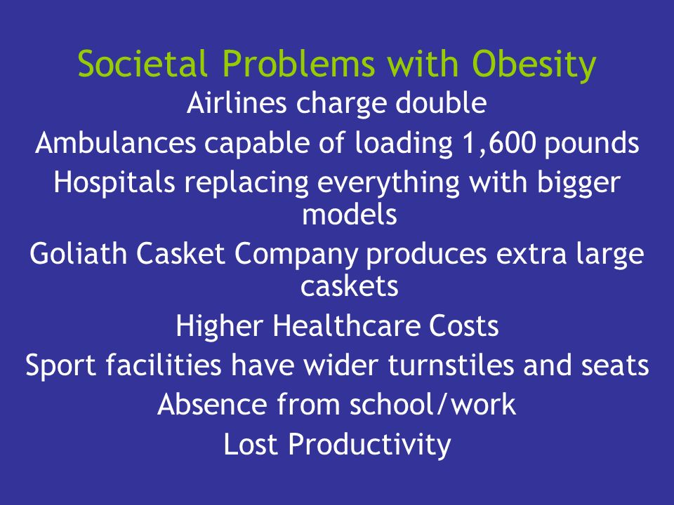 Societal Problems with Obesity