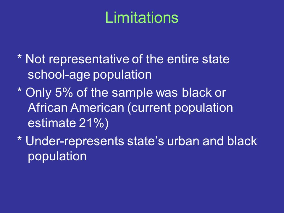 Limitations* Not representative of the entire state school-age population.
