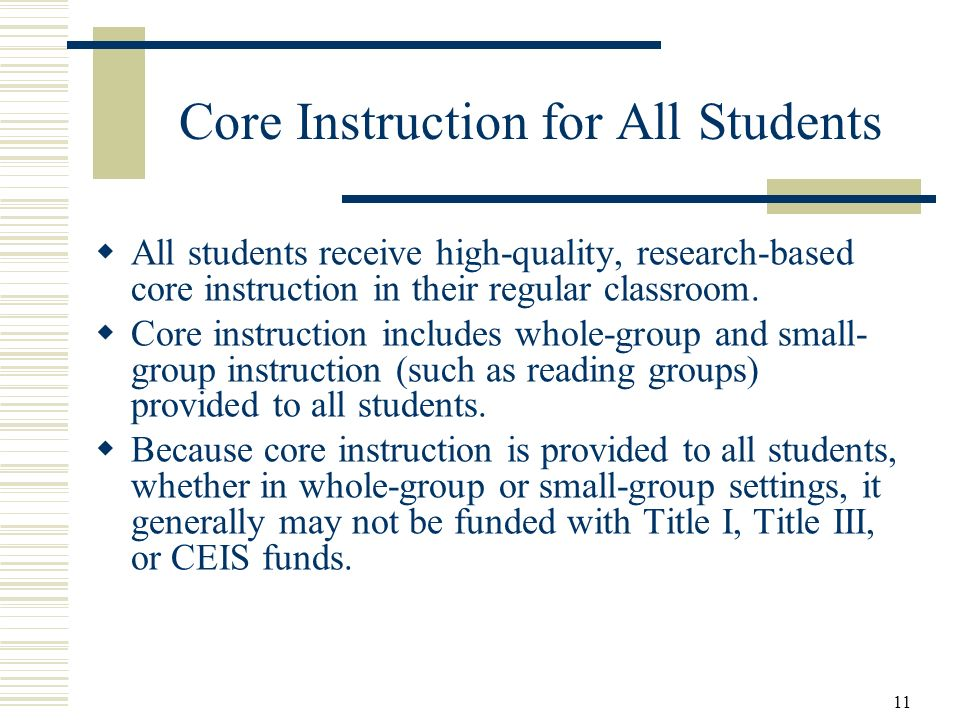 Core Instruction for All Students