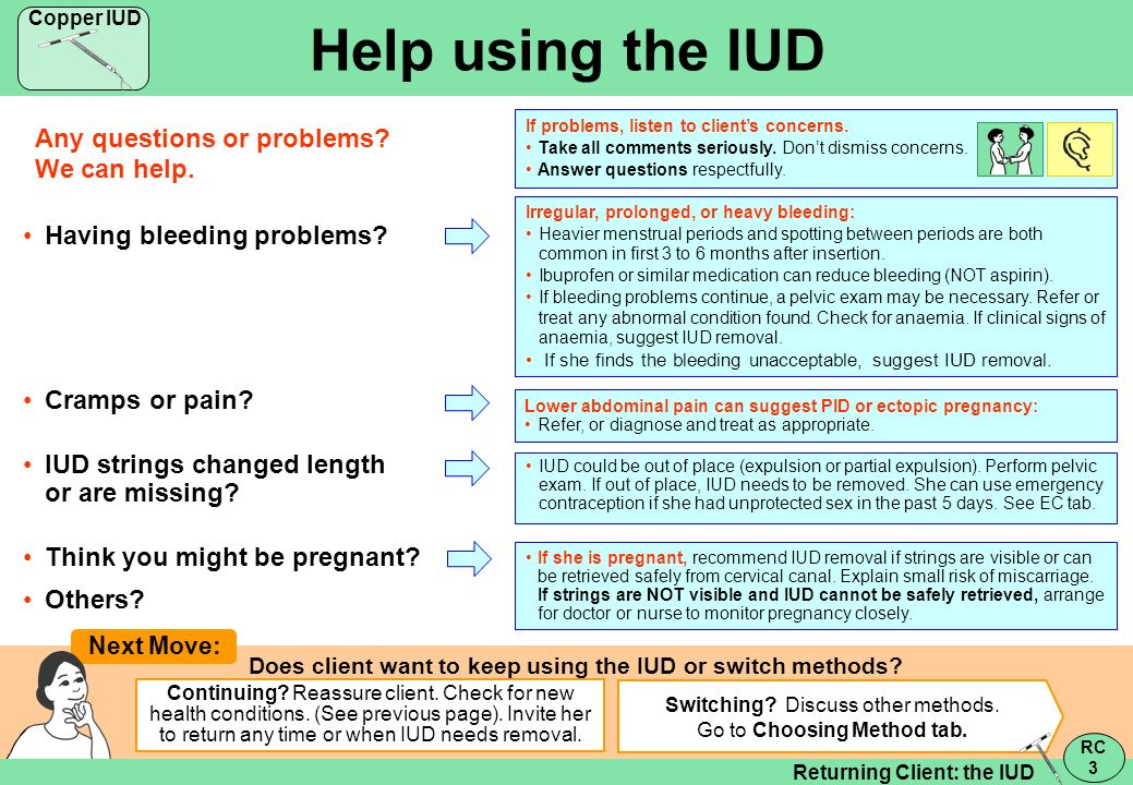Does client want to keep using the IUD or switch methods