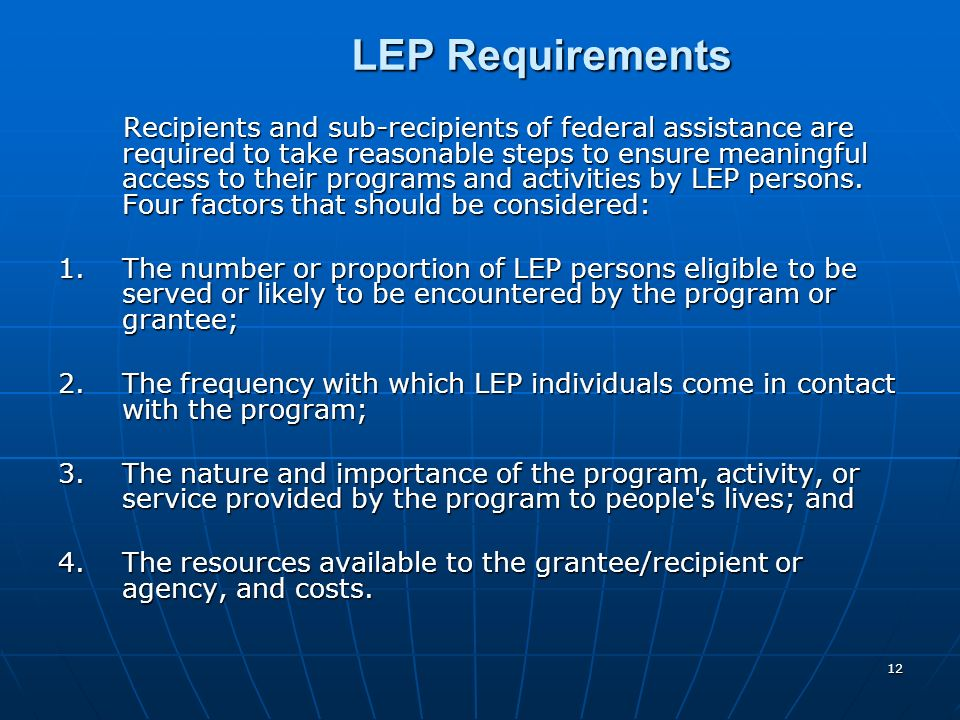 LEP Requirements