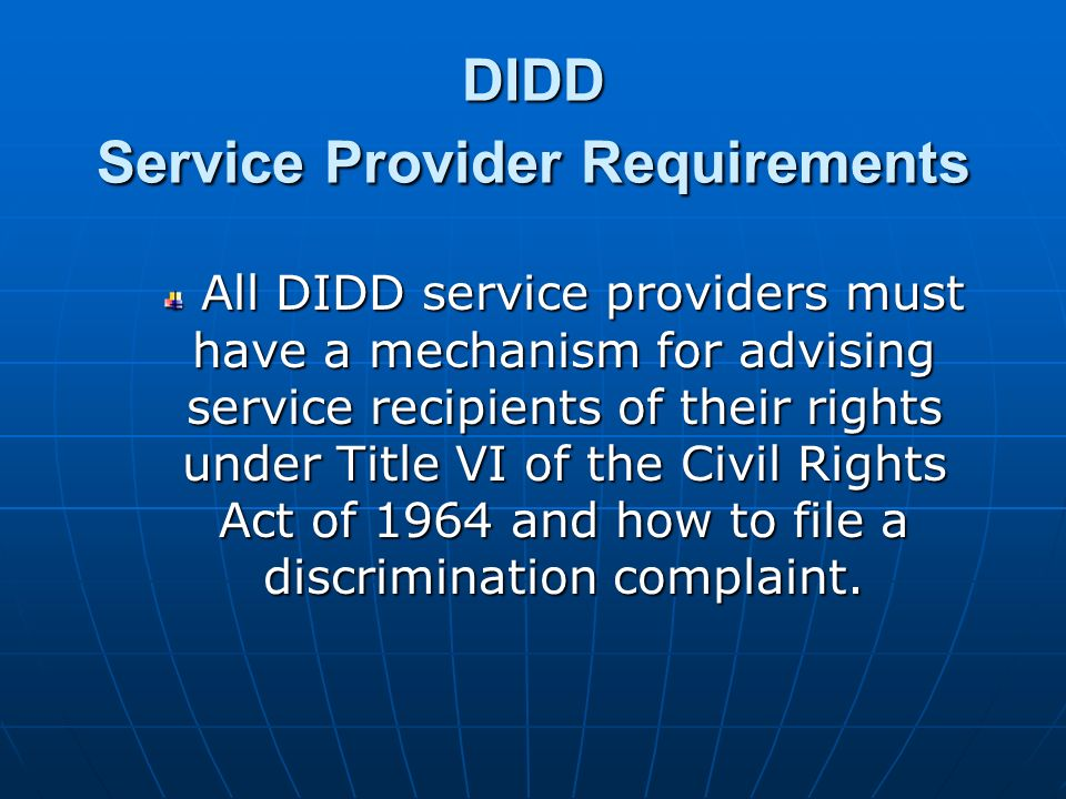 DIDD Service Provider Requirements