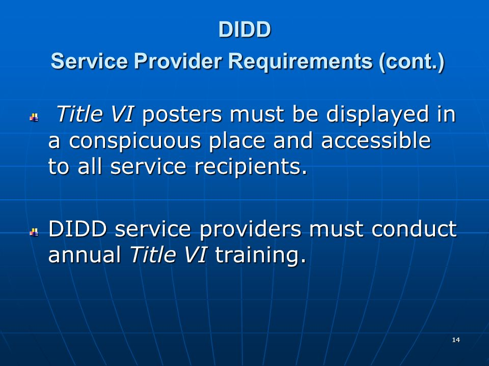 DIDD Service Provider Requirements (cont.)