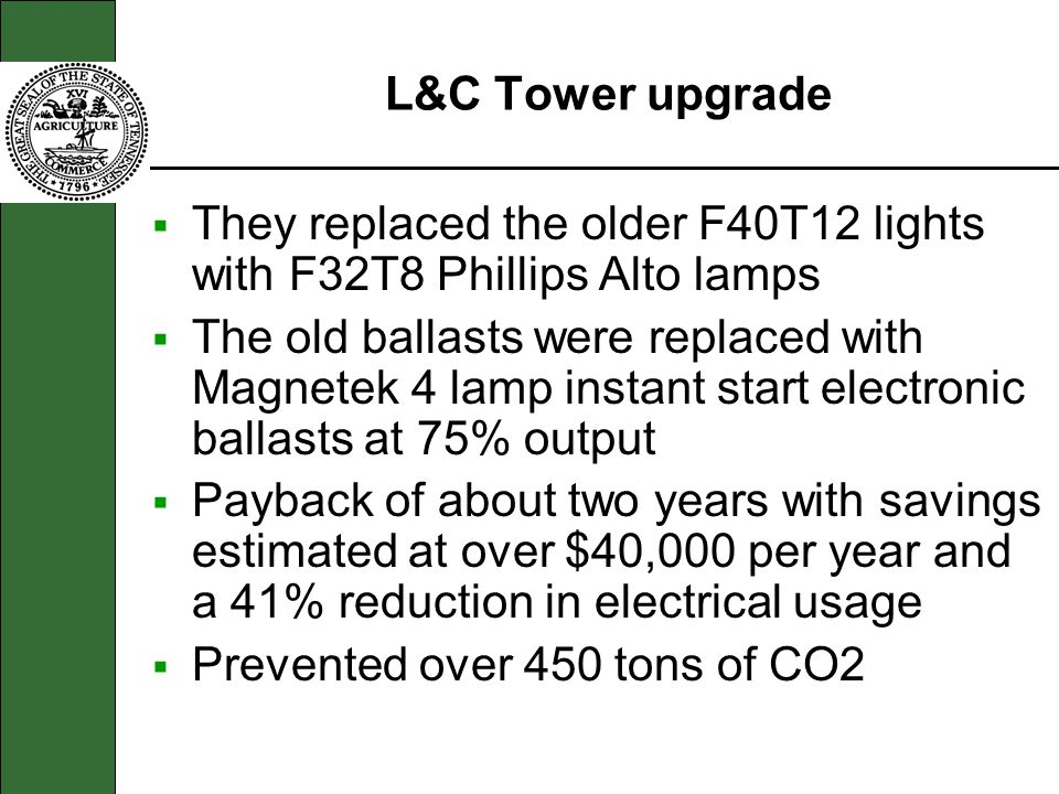 L&C Tower upgrade They replaced the older F40T12 lights with F32T8 Phillips Alto lamps.