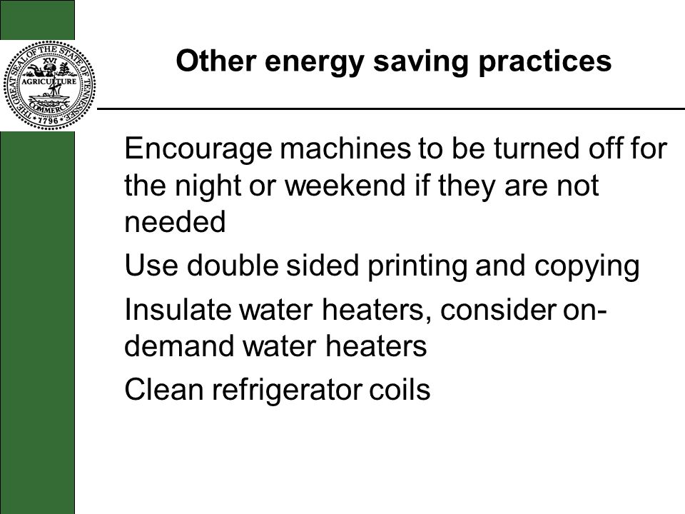 Other energy saving practices