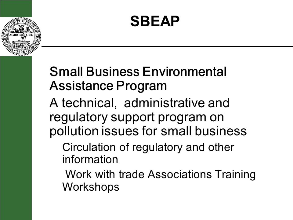 SBEAP Small Business Environmental Assistance Program
