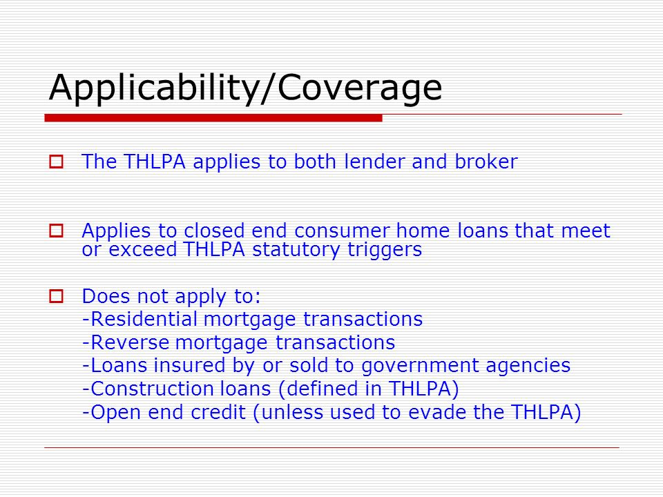 Applicability/Coverage