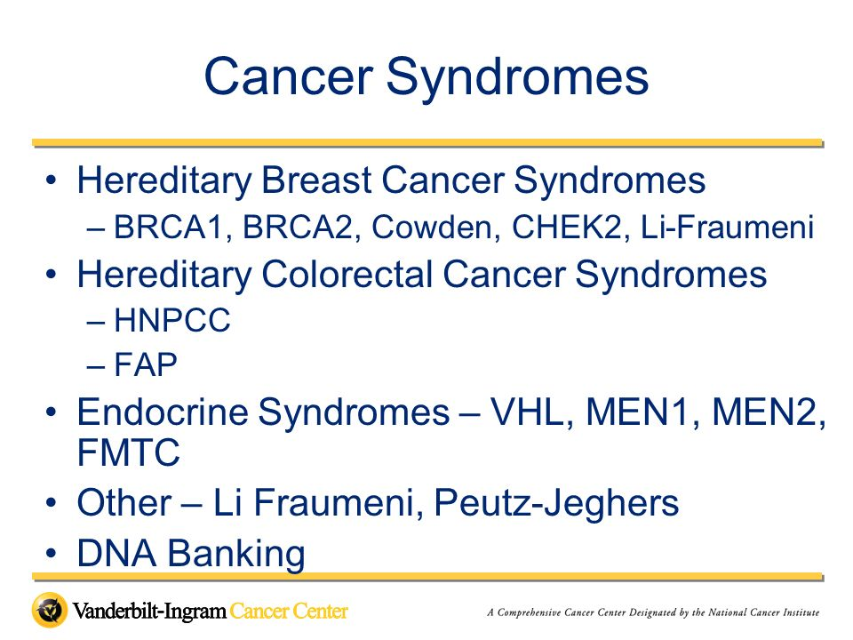 Cancer Syndromes Hereditary Breast Cancer Syndromes
