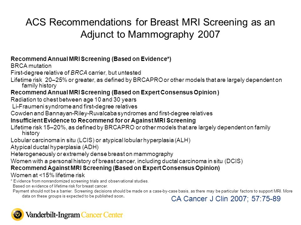 ACS Recommendations for Breast MRI Screening as an Adjunct to Mammography 2007