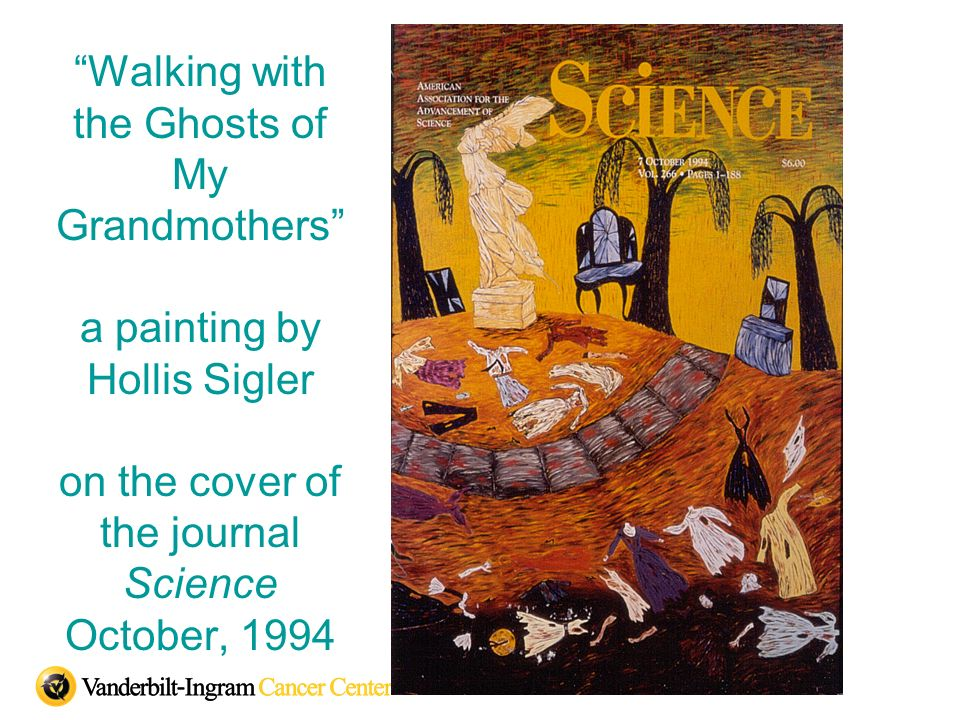 Walking with the Ghosts of My Grandmothers a painting by Hollis Sigler on the cover of the journal Science October, 1994