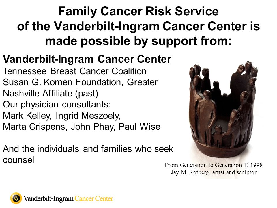 Family Cancer Risk Service of the Vanderbilt-Ingram Cancer Center is made possible by support from: