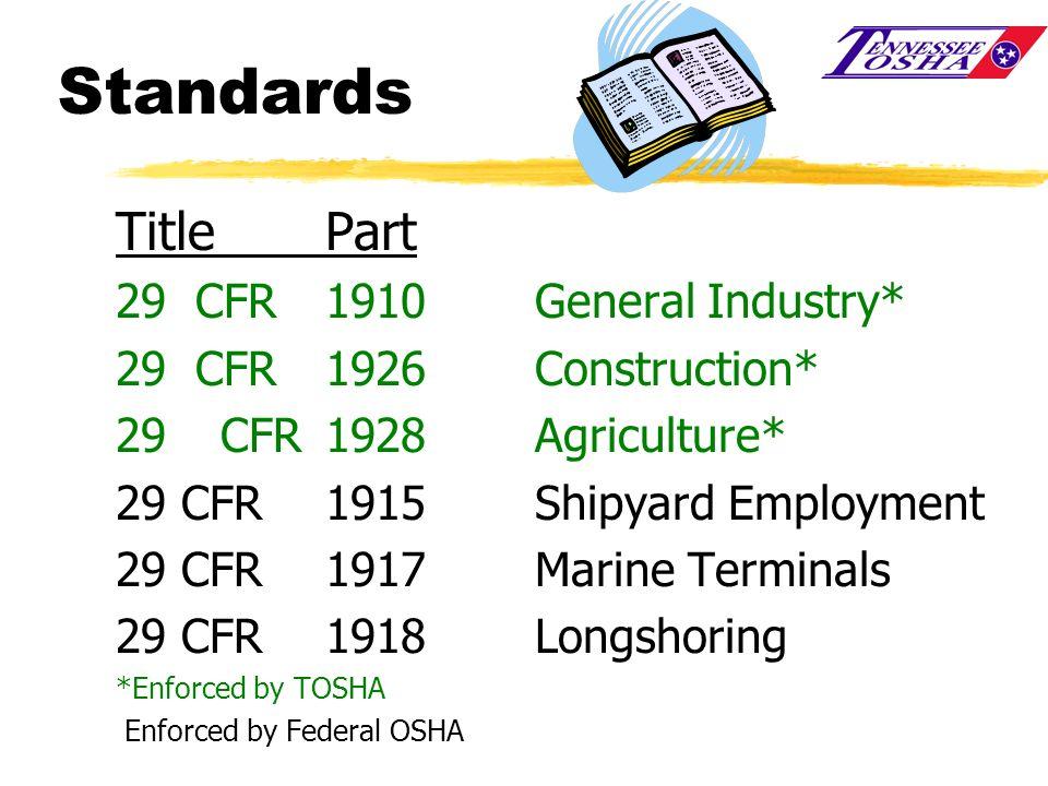 Standards Title Part 29 CFR 1910 General Industry*