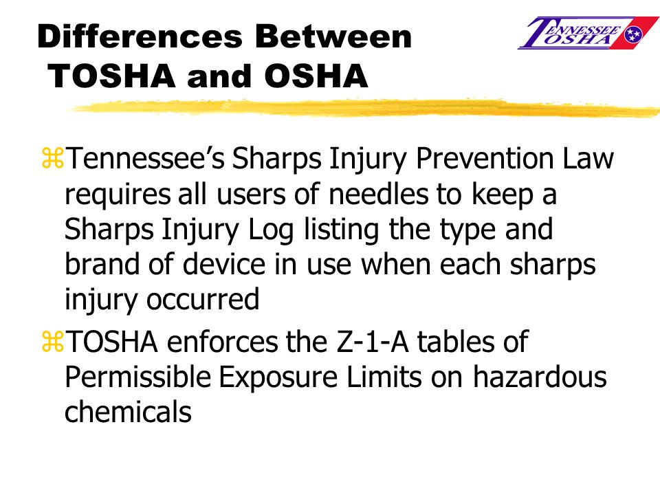 Differences Between TOSHA and OSHA