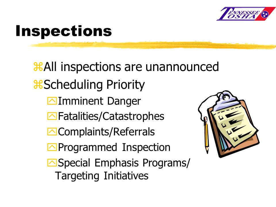 Inspections All inspections are unannounced Scheduling Priority