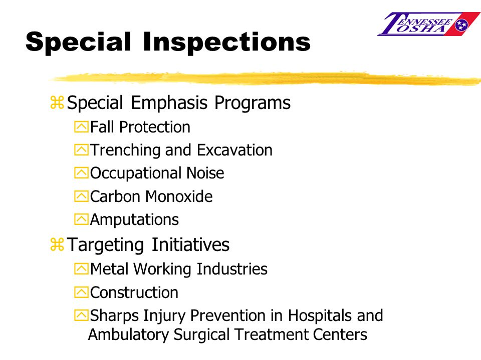 Special Inspections Special Emphasis Programs Targeting Initiatives
