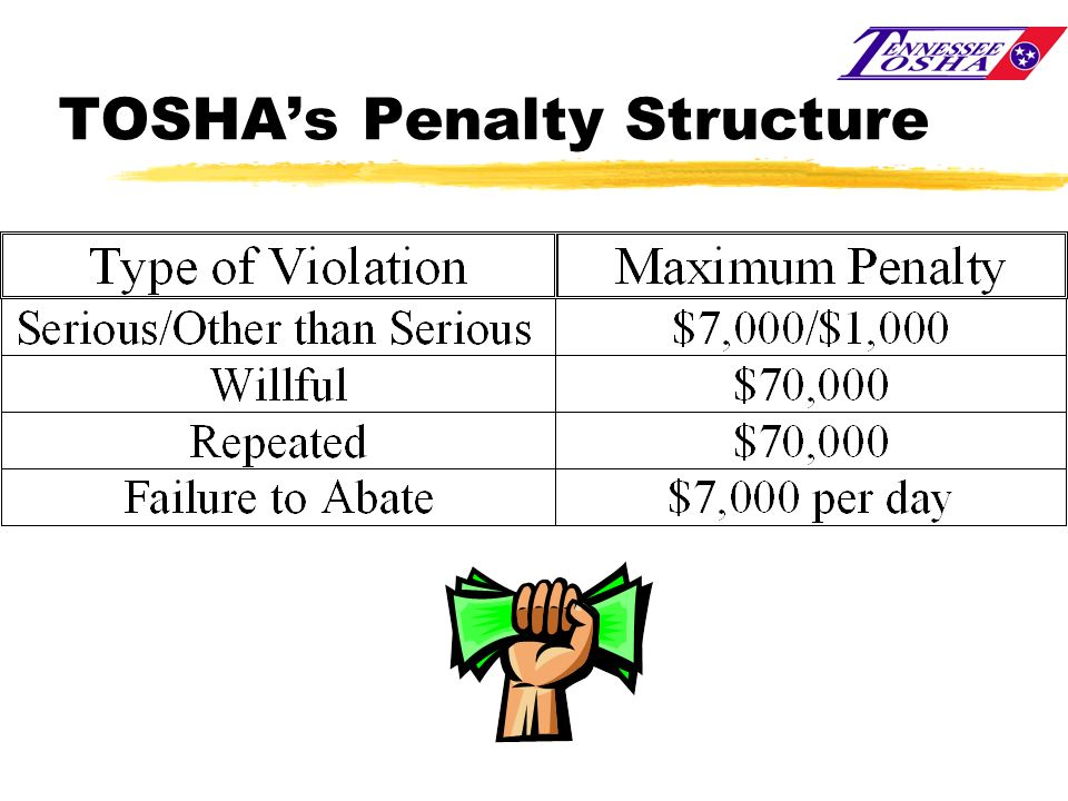 TOSHA's Penalty Structure