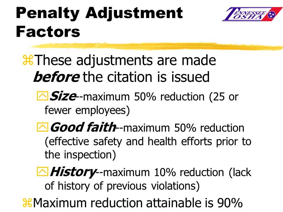 Penalty Adjustment Factors