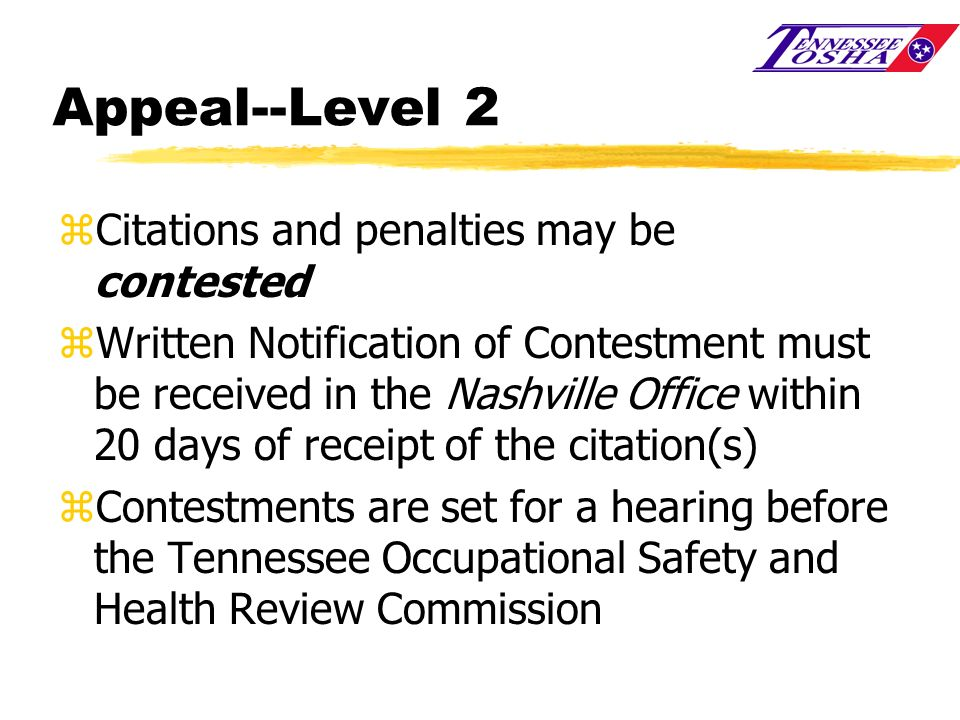 Appeal--Level 2 Citations and penalties may be contested