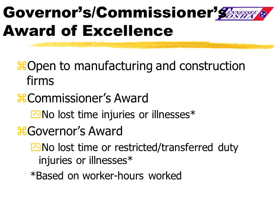 Governor's/Commissioner's Award of Excellence