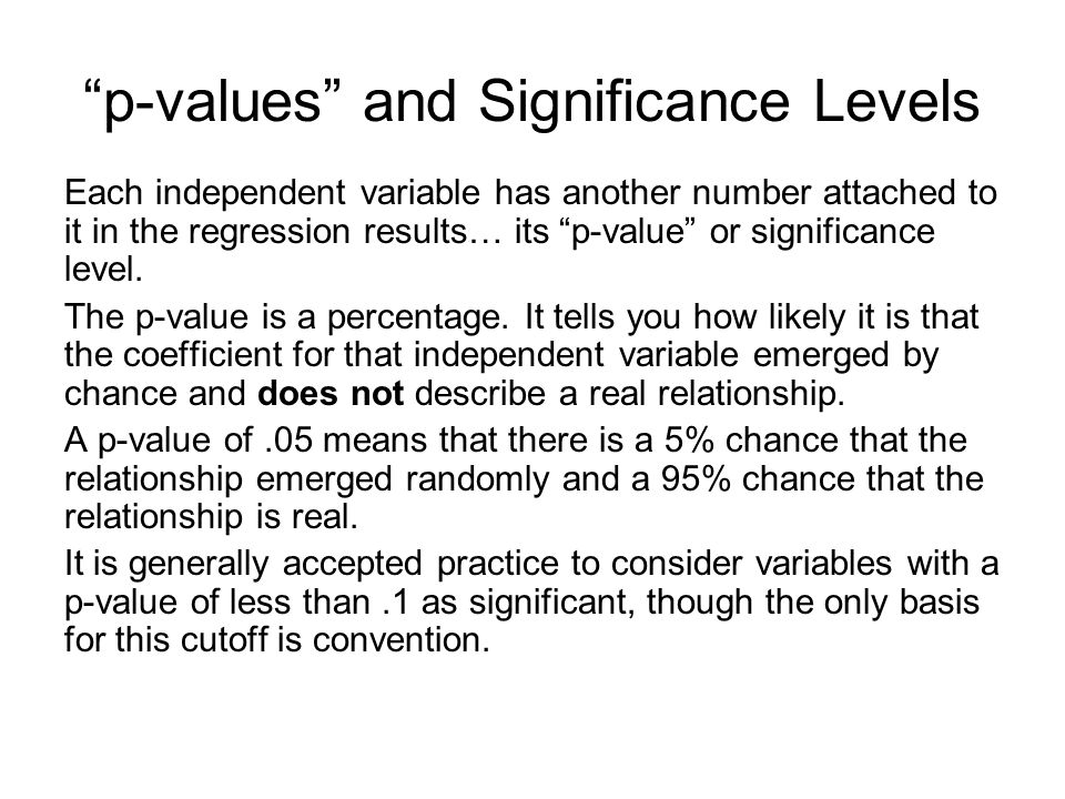 p-values and Significance Levels