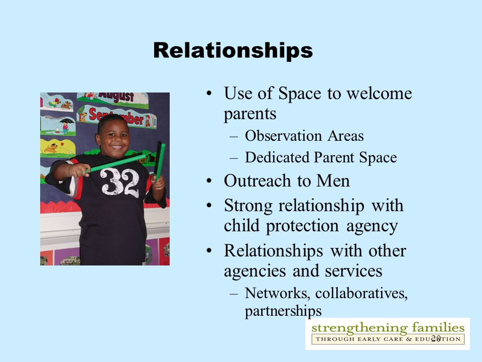 Relationships Use of Space to welcome parents Outreach to Men