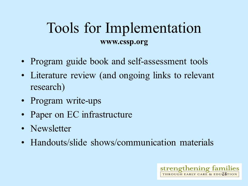 Tools for Implementation www.cssp.org