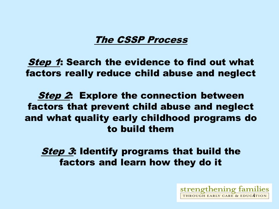 The CSSP Process Step 1: Search the evidence to find out what factors really reduce child abuse and neglect Step 2: Explore the connection between factors that prevent child abuse and neglect and what quality early childhood programs do to build them Step 3: Identify programs that build the factors and learn how they do it