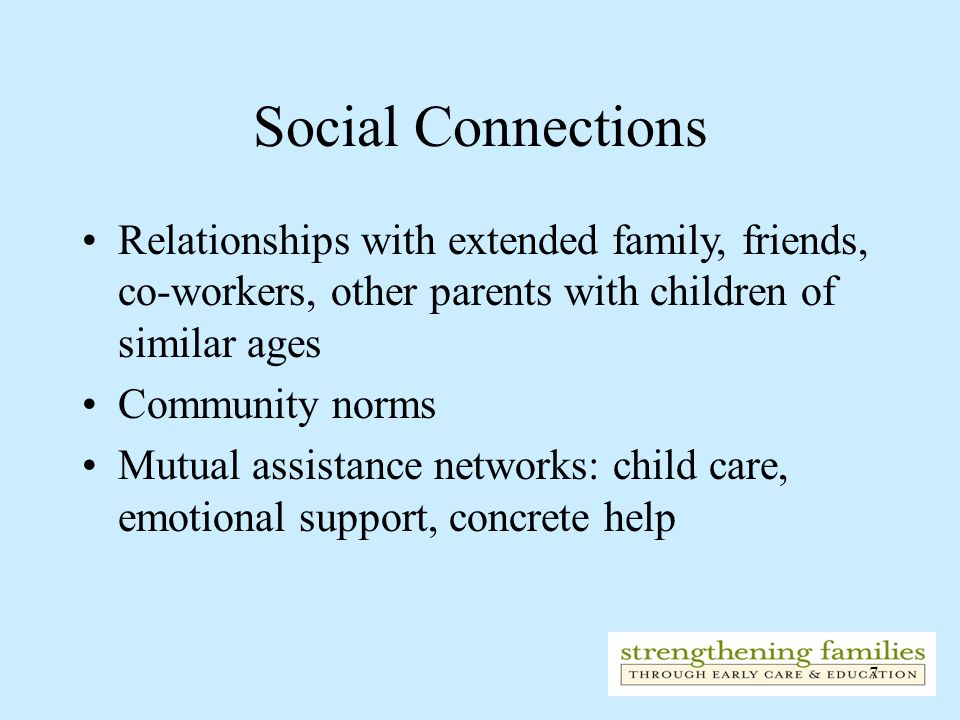 Social Connections Relationships with extended family, friends, co-workers, other parents with children of similar ages.