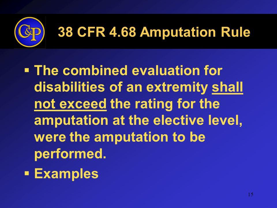 38 CFR 4.68 Amputation Rule