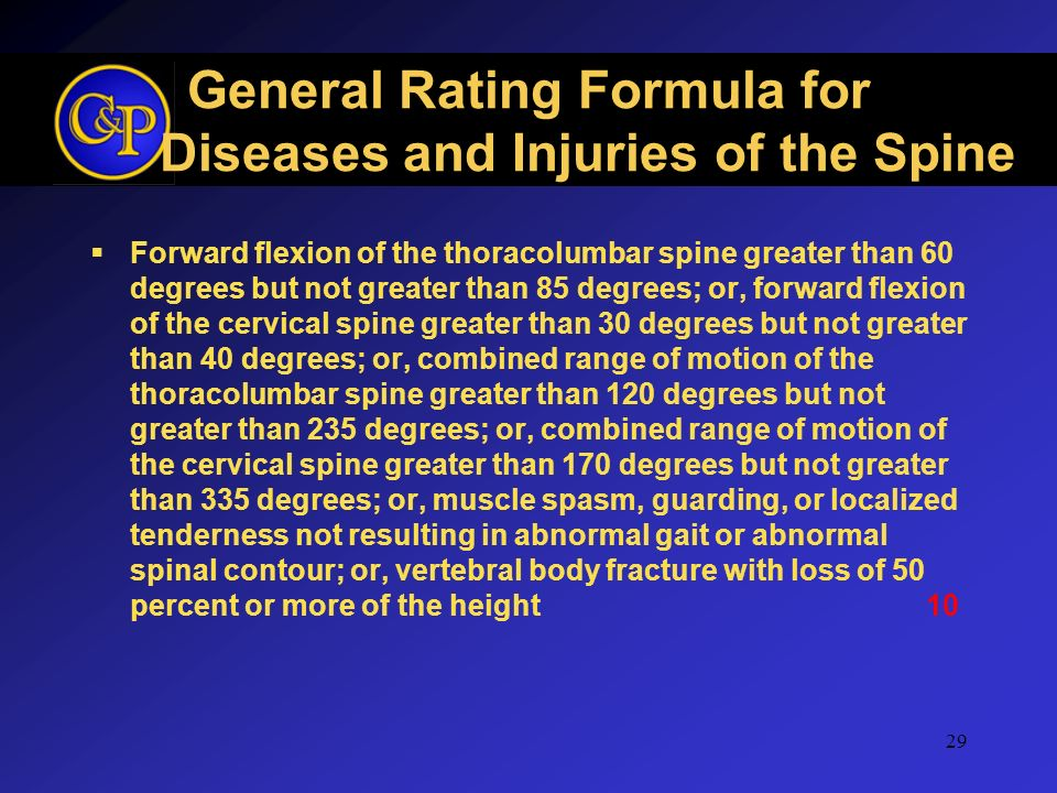General Rating Formula for Diseases and Injuries of the Spine