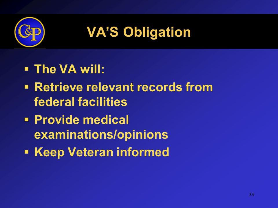 VA'S Obligation The VA will: