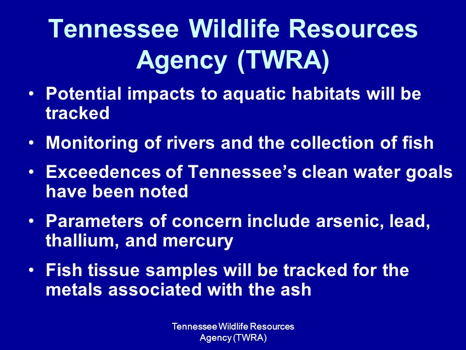 Kingston tva coal ash spill ppt video online download for Tennessee fish and wildlife